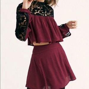Two piece Two Hearts Velvet Embroidered Set
